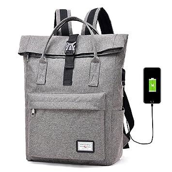 USB Mochila de Portátil hasta 16 Pulgadas Backpack Ligero para Ordenador del Negocio Trabajo Diario Viaje Gris: Amazon.es: Electrónica