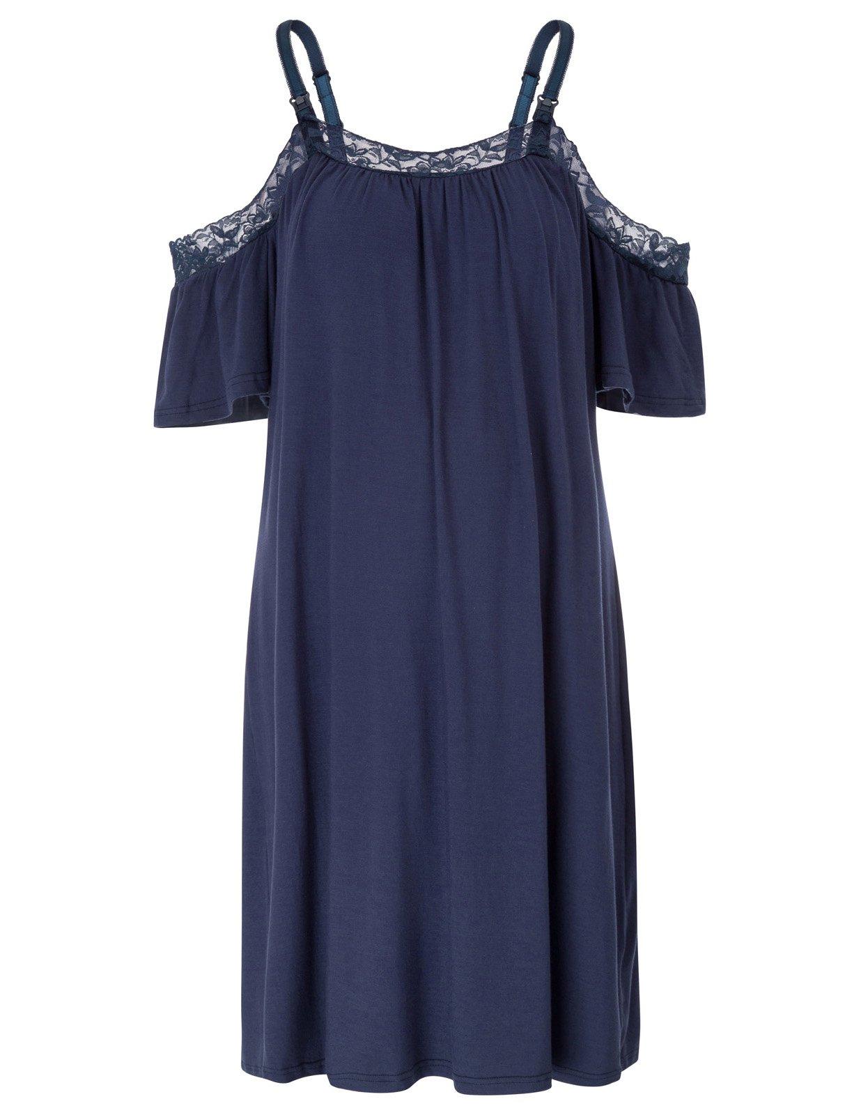 Maternity Dress Spaghetti Strap Cotton Sleepwear with Adjustable Strap XXL Navy Blue