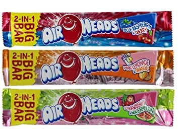 amazon com airheads 2 in 1 big bar candy 3 flavor 9 bar variety