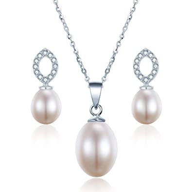 91ec3dd6d AAAAA Micropave Bridal Set 925 Sterling Silver 8-9mm Freshwater Pearl  Necklace & Earring Set Box Gift: Amazon.co.uk: Jewellery