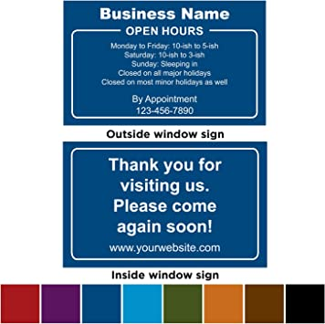 """BUSINESS STORE HOURS Vinyl Window Decal sign 11.5/"""" CUSTOM Customized lettering"""