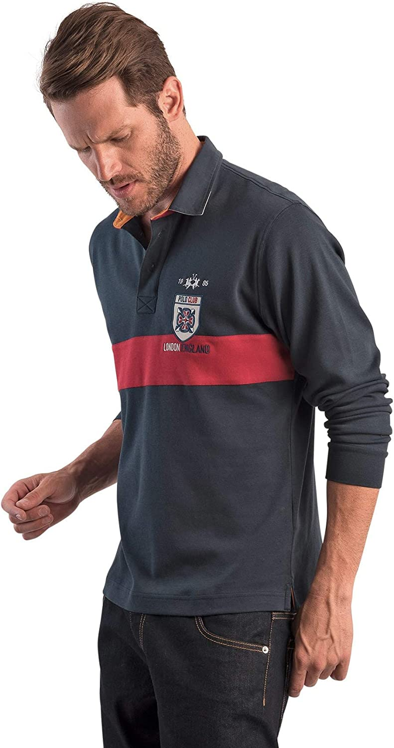 La Martina Polo Rugby Azul Marino y Rojo Polo Club London Regular ...