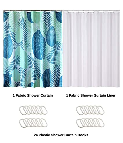 Amazon Com Kingmily Shower Curtain With Hooks Green Fan Leaves