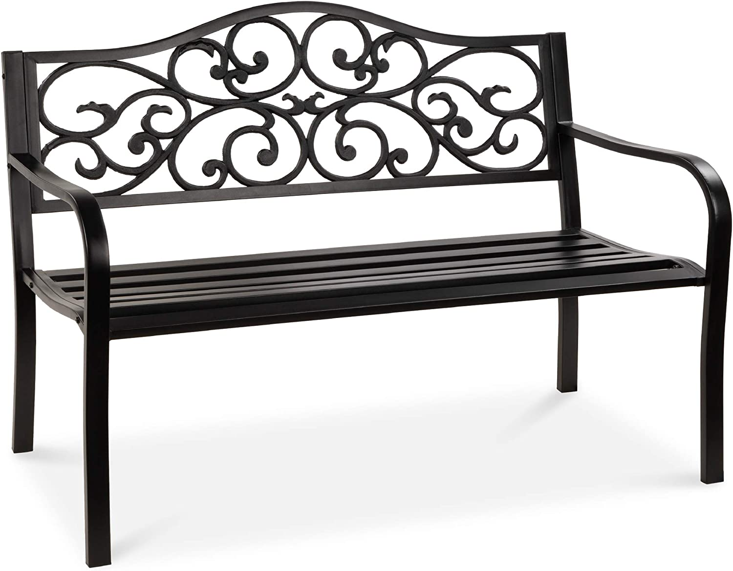 Best Choice Products 50in Classic Steel Garden Bench Chair Furniture for Outdoor, Patio, Yard, Lawn w/Floral Scroll Design - Black