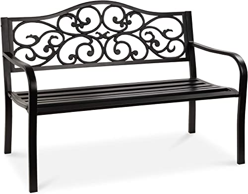 Best Choice Products 50in Classic Steel Garden Bench Chair Furniture