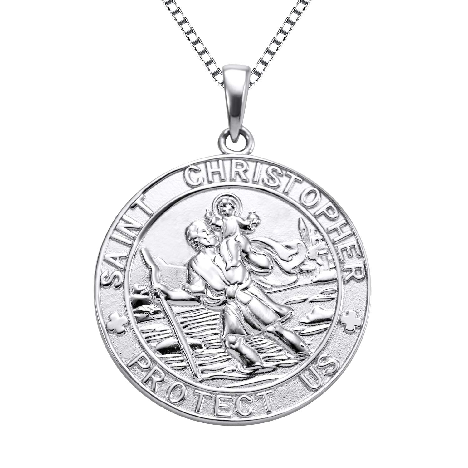 YL Jewelry St Christopher Medal Pendant Patron Saint Guardian Protect Us Necklace 925 Sterling Silver Religious Engraved Medallion, 18''