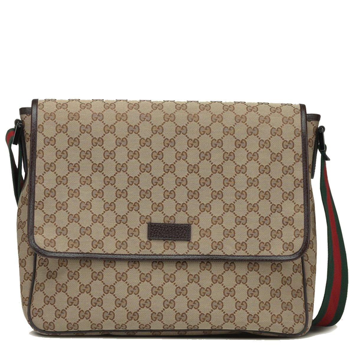 Gucci Messenger Beige/Ebony Original GG lienzo con ribete en piel de color marrón: Amazon.es: Ropa y accesorios
