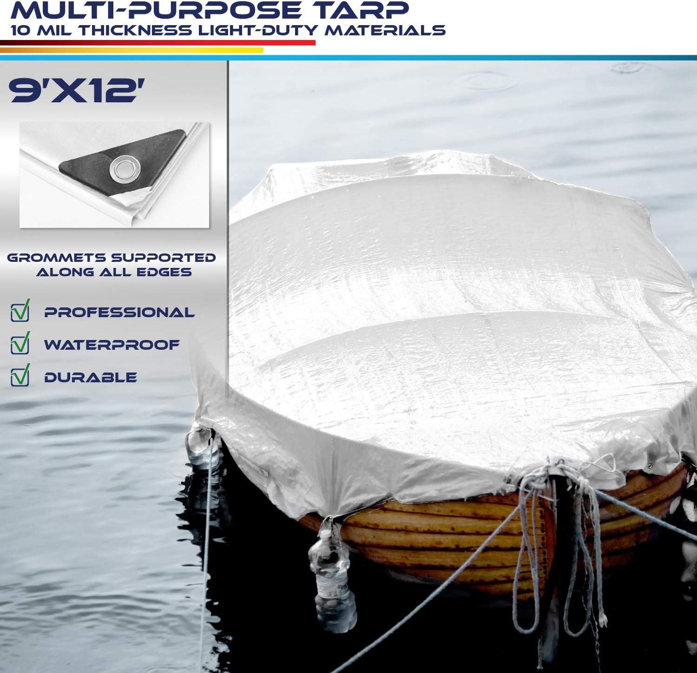 Windscreen4less 12 x 24 Heavy Duty 10 Mil Waterproof White Poly Tarp