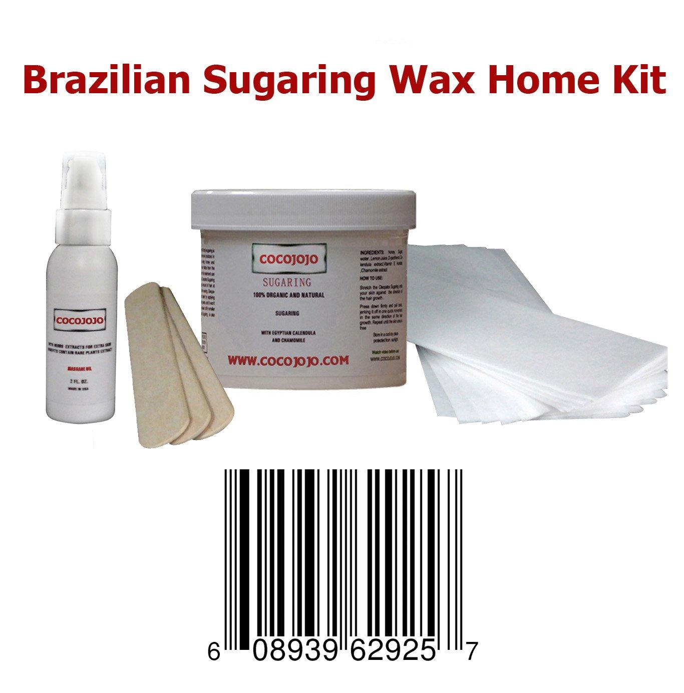8 Oz Cocojojo Sugaring Brazilian Sugaring Wax Kit - Sugaring Hair Removal - 8 Oz Sugar Wax - 2 Oz After Sugaring Toner - 6 Strips - 2 Wooden Spatulas for Bikini Waxing Hair Removal by cocojojo sug br 8