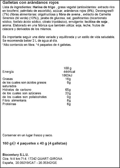 Bicentury - Galletas devoragras con frutos rojos - 40 g x 4 ...