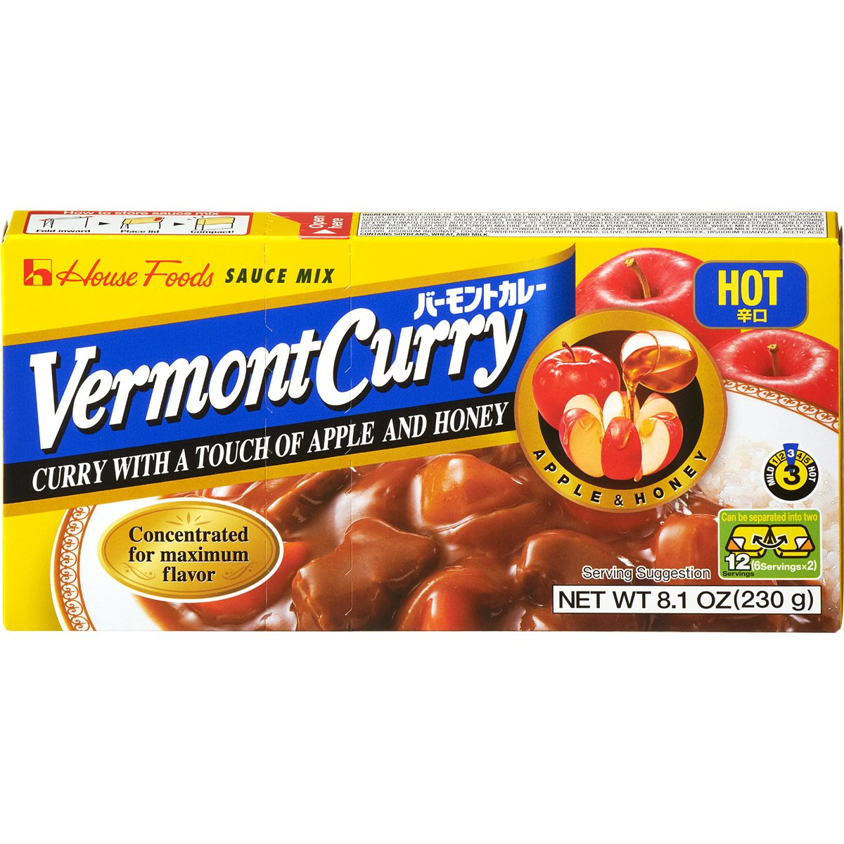 House Foods Vermont Curry, Hot, 8.1-Ounce Boxes (Pack of 10) by House Foods (Image #1)