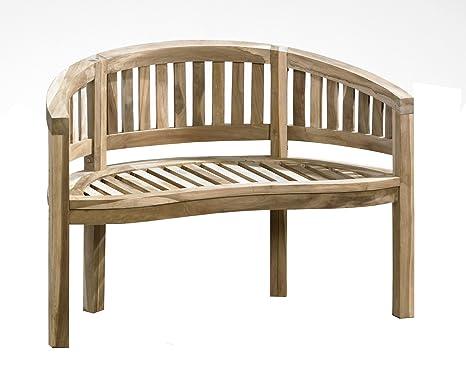 2er Panchina a banana 2 posti, Teak Panca da giardino 120 cm legno ...
