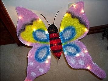Iridescent Fabric 20u0026quot; Lighted Sculpture Butterfly   Patio ...