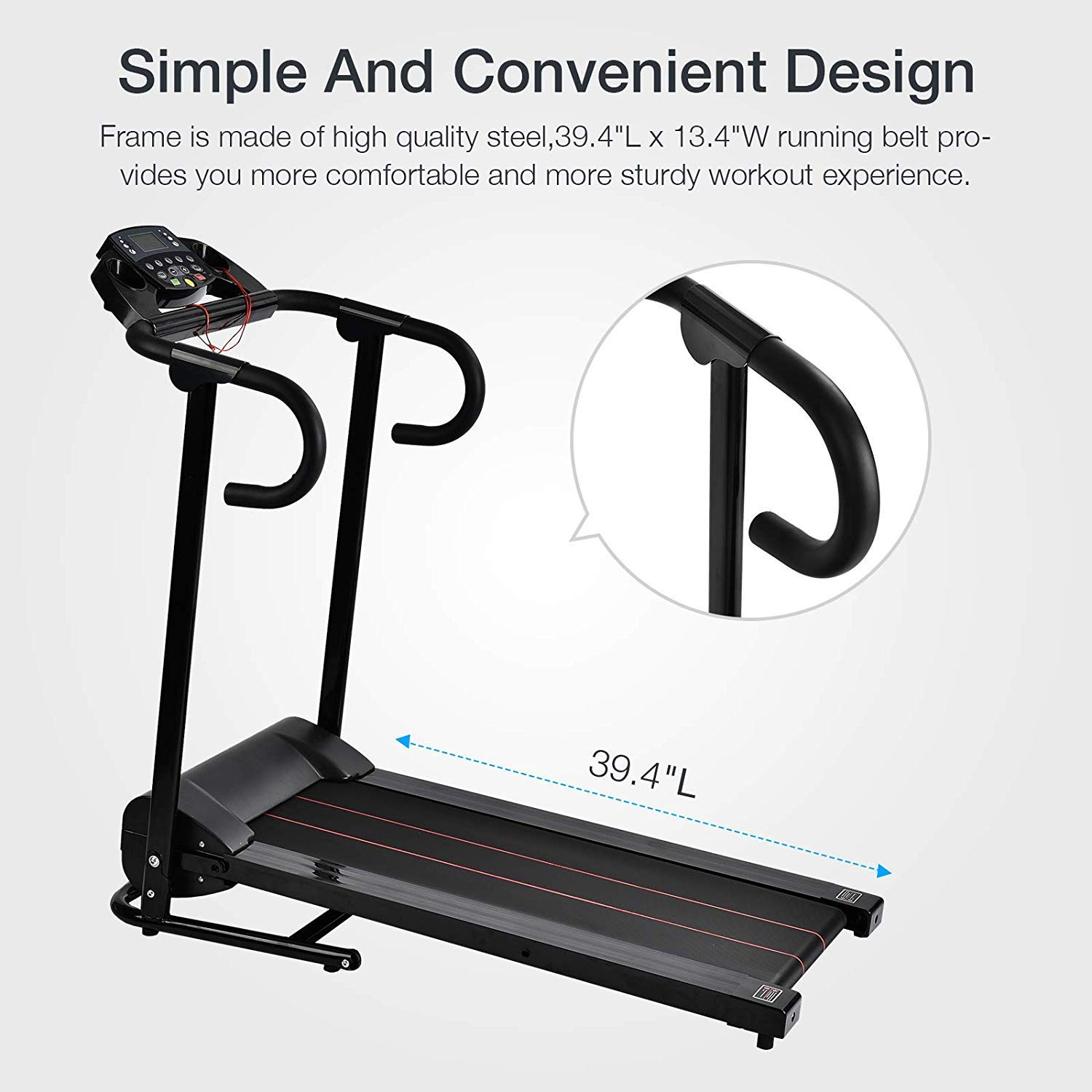 Murtisol 1100W Folding Treadmill Electric Walking Running Exercise Fitness Machine with LCD Display Easy Control Home Gym by Murtisol (Image #6)