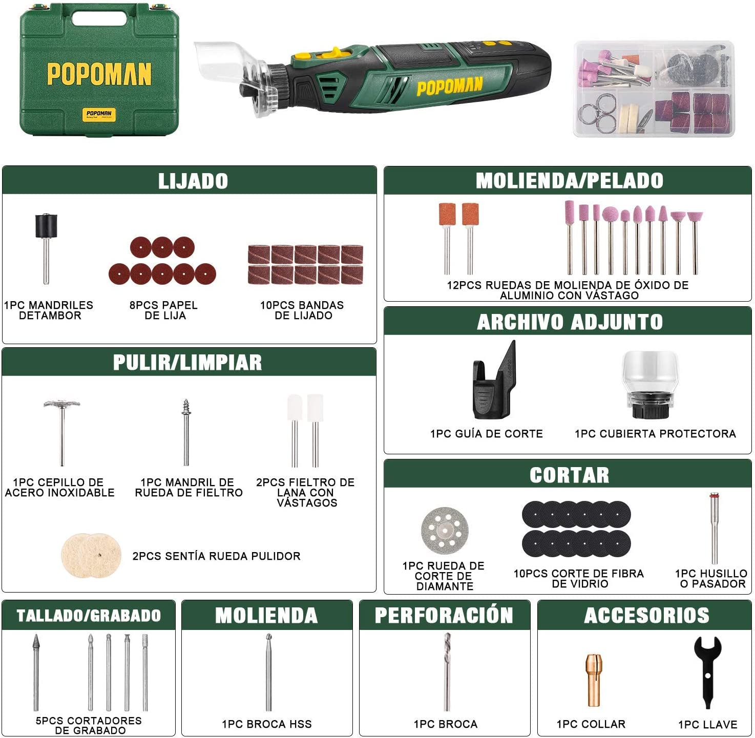 caja de herramientas para los DIY Trabajos de Pulir POPOMAN 8V Amoladora Electr/ónica DC Type C Linea de datos Herramienta Rotativa USB Recargable con 58 pcs Accesorios Mini Amoladora