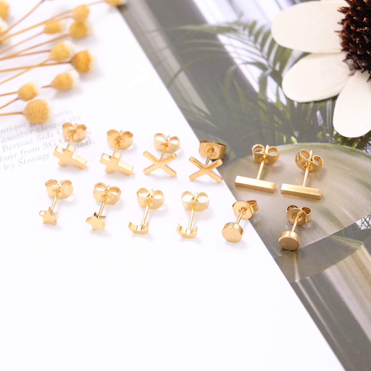 Hanpabum 6 Pairs Stainless Steel Stud Earrings for Women Tiny Stud Bar Earring Geometric Earrings Set
