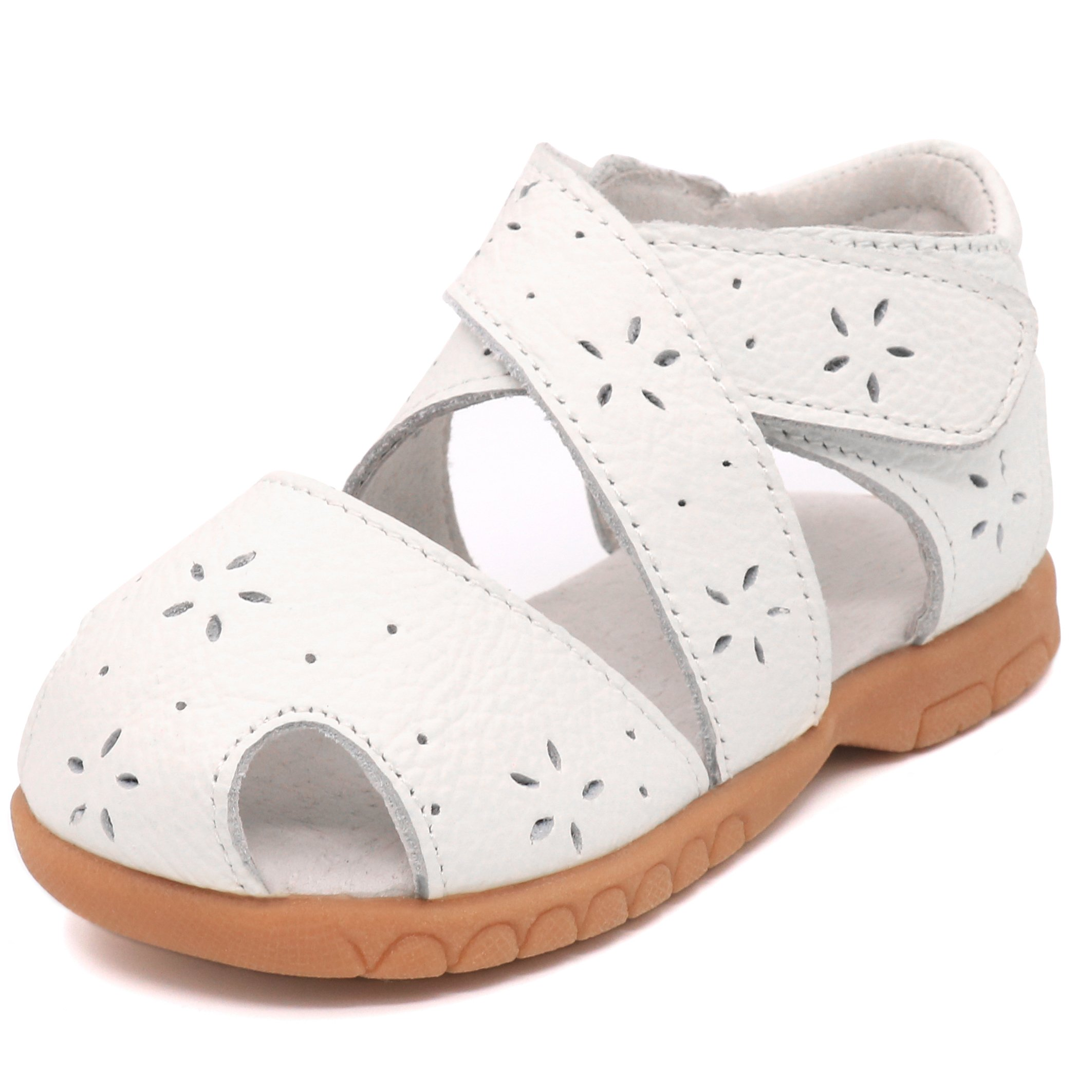 Femizee Toddler Girls Leather Closed Toe Gladiator Sandals,White,1534 CN22