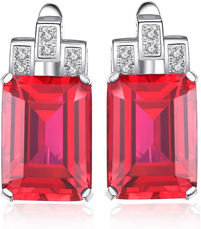 JewelryPalace Pendientes Lujos de Aro 7.6ct Imitado Nano Rusa Esmeralda plata de ley 925