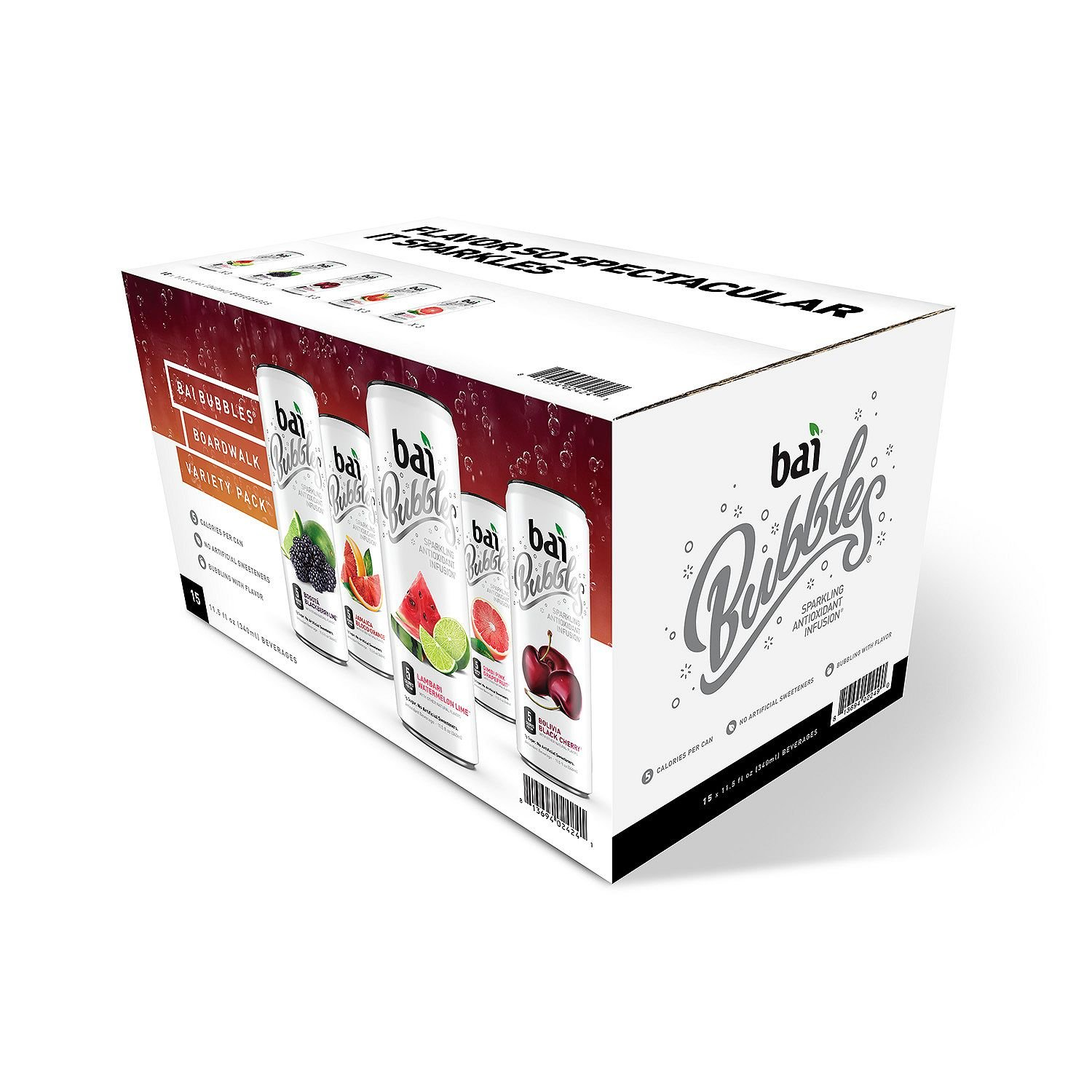 Bai 5 Bubbles Sparkling Antioxidant Infusion Variety Pack (11.5 oz. can, 15 ct.) by Bai Bubbles