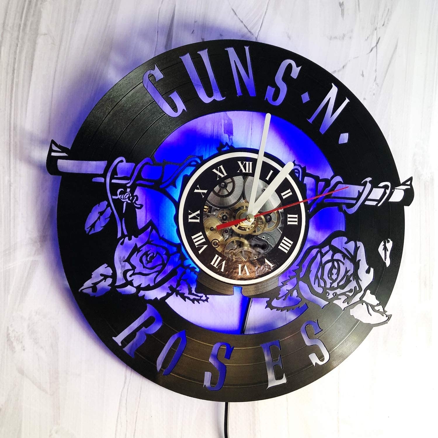 Valentines1934 Guns'N'Roses LED Wall Lights, Night Light, Wall Lamp, Handmade LED Vinyl Wall Clock Remote Control LED Vintage Backlight Art Cool Living Room Interior Decor (Blue) (Blue)