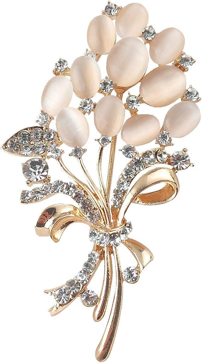 Merdia Broche Floral Ramos De La Boda Creado Con Los Ojos De Gato Hermoso Para Mujeres Elegantes, Muchachas, Señoras Beige Claro