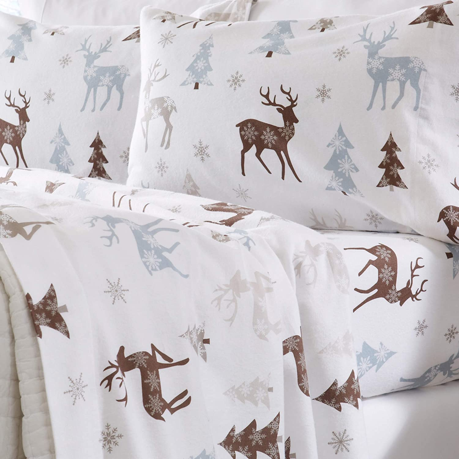 Home Fashion Designs Flannel Sheets Queen Winter Bed Sheets Flannel Sheet Set Snowy Reindeer Flannel Sheets 100% Turkish Cotton Flannel Sheet Set. Stratton Collection (Queen, Snowy Reindeer)