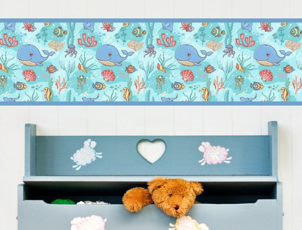 I-love-Wandtattoo Cenefa Autoadhesivo para ni/ños Mundo Submarino delf/ín Dormitorio Infantil Decor