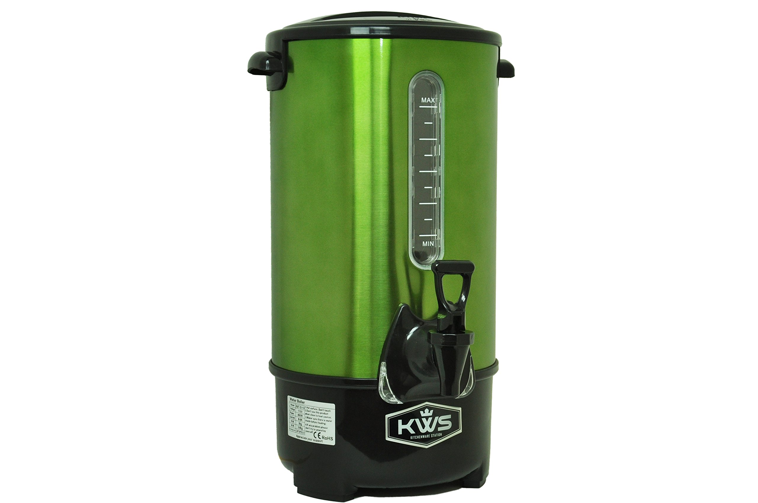 KWS WB-10 9.7L/41Cups Commercial Heat Insulated Water Boiler and Warmer Stainless Steel (Green) by KitchenWare Station (Image #2)