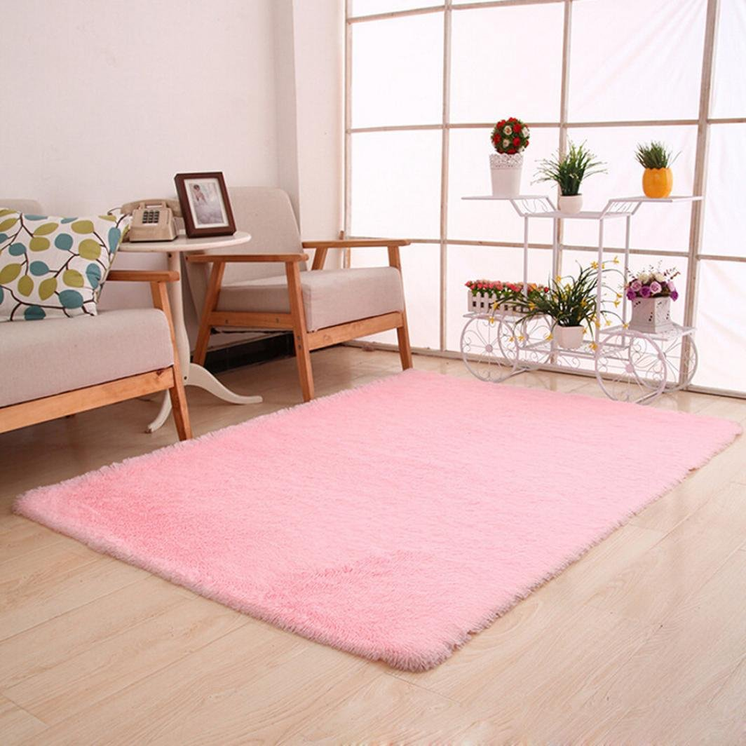 CYCTECH® Soft Indoor Modern Shaggy Area Rugs Fluffy Rugs Anti-Skid Dining Room Home Bedroom Carpet Floor Mat Girls Room Baby Nursery Decor Kids Room Carpet 80x120cm (Pink)