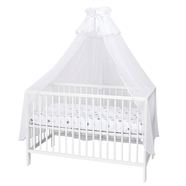 Callyna ® - Ciel de lit bébé avec support, voile décoratif Blanc pour lit bébé. Nœud Blanc
