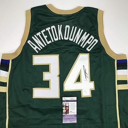 abc6ffe68 Autographed Signed Giannis Antetokounmpo Milwaukee Green Custom Basketball Jersey  JSA COA