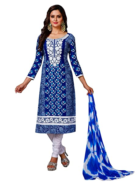 302818a11f Jevi Prints Women's Unstitched Pakistani Lawn Cotton Blue & White Resham  Embroidered Salwar Suit Dupatta Material (A-3010): Amazon.in: Clothing & ...