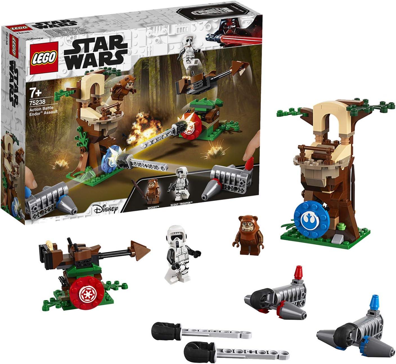 LEGO Star Wars - Action Battle: Asalto a Endor, Juguete de Construcción Inspirado en la Saga de la Guerra de las Galaxias, Inlcuye Minifiguras de un Ewok y un Soldado Imperial (75238)