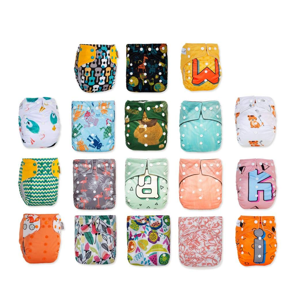 New Arrival! KaWaii Baby Pack of 18 Shells One Size Printed Snap Adjustable Leak-Proof Panel Washable Pocket Diaper Shells for 8-36 lbs| Reusable| Waterproof