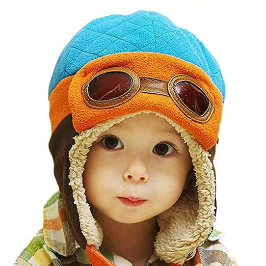 PanDaDa Baby Boys Hats Winter Warm Cap Hat Beanie Pilot Aviator Crochet  Earflap Blue Medium b70e7a7b4ea