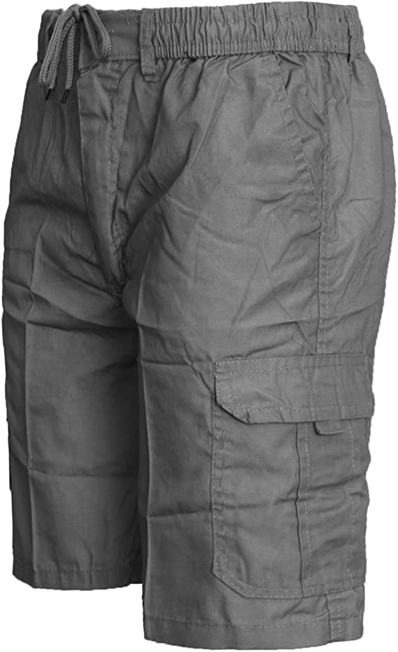 Mens Shorts Cargo Combat Knee Length Summer Pants 6 Pocket Free Belt Grey