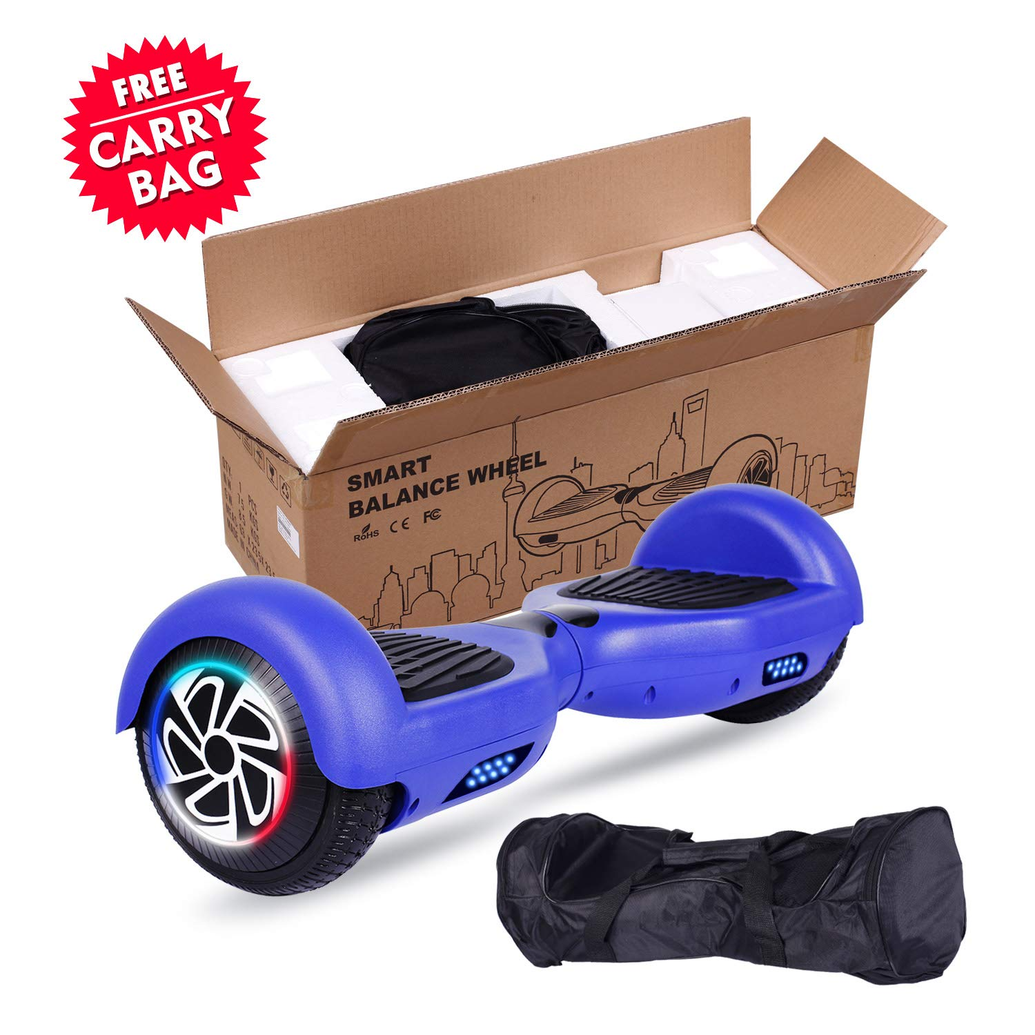 SISIGAD Hoverboard, Self Balancing Hoverboard, 6.5'' Two-Wheel Self Balancing Scooter, Smart Hover Board for Kids Gift, Adult Electric Scooter, with LED Lights and Free Carrying Bag UL2272 Certified by SISIGAD (Image #7)