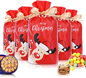 """50pcs Christmas Candy Cookies Drawstring Gift Bags 7""""×4"""", Plastic Treat Bags with Bow-Tie for Birthday Party Wedding Favor,N"""