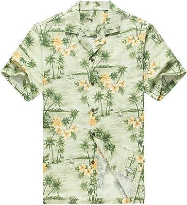Hecho en Hawaii Camisa Hawaiana de los Hombres Camisa Hawaiana Palmas Flores Casas en Verde: Amazon.es: Ropa y accesorios