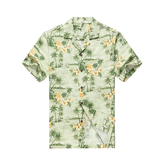 d6982bad Made in Hawaii Men's Hawaiian Shirt Aloha Shirt Palms Flowers Houses in  Green: Amazon.co.uk: Clothing