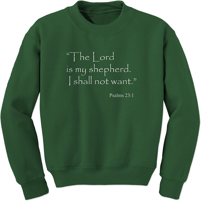 FerociTees Lord is My Shepherd Psalms 23:1 Bible Verse Crewneck Sweatshirt