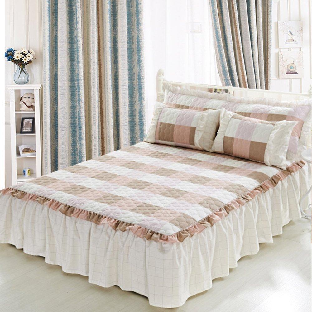 綿 ホワイト ベッドスカート,ベッドスプレッド シート セミダブル ダブル 17.7 インチ 45 cm サギング な トップが厚く-B 200*220cm Set B07CZJL6MZ B 200*220cm Set
