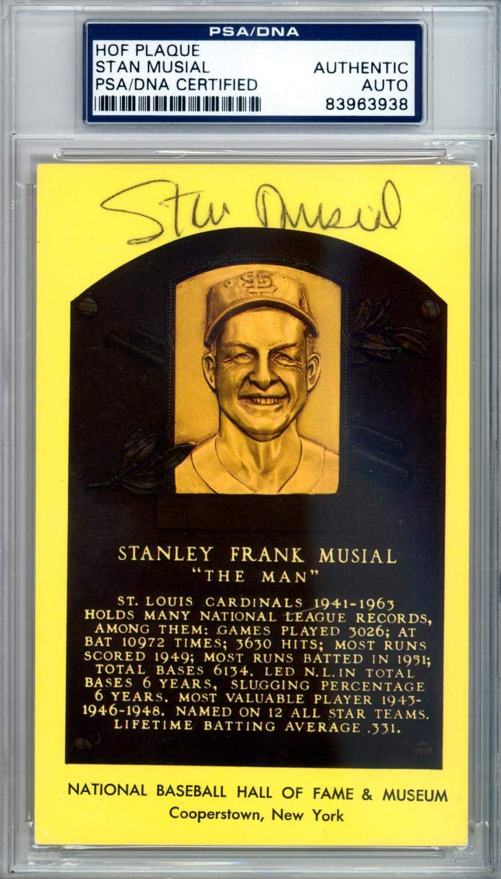 Stan Musial Autographed HOF Plaque Postcard #83963938 - PSA/DNA Certified - MLB Cut Signatures Mill Creek Sports