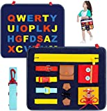 Toddler Busy Board - Basic Skills Activity Board for Fine Motor Skills and Learn to Dress - ABC Educational Learning Toys for 1 2 3 4 Year Old Toddlers - Sensory Toy for Airplane or Car Travel