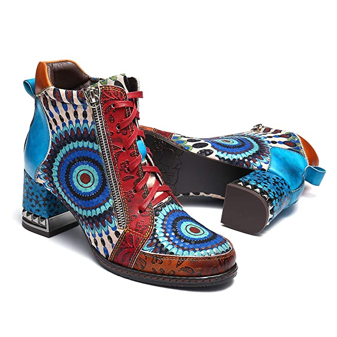 Amazon.com   gracosy Leather Ankle Boots for Women, Block Heel Vintage Side Zipper Floral Pattern Boots Lace up with Warm Lining   Ankle & Bootie