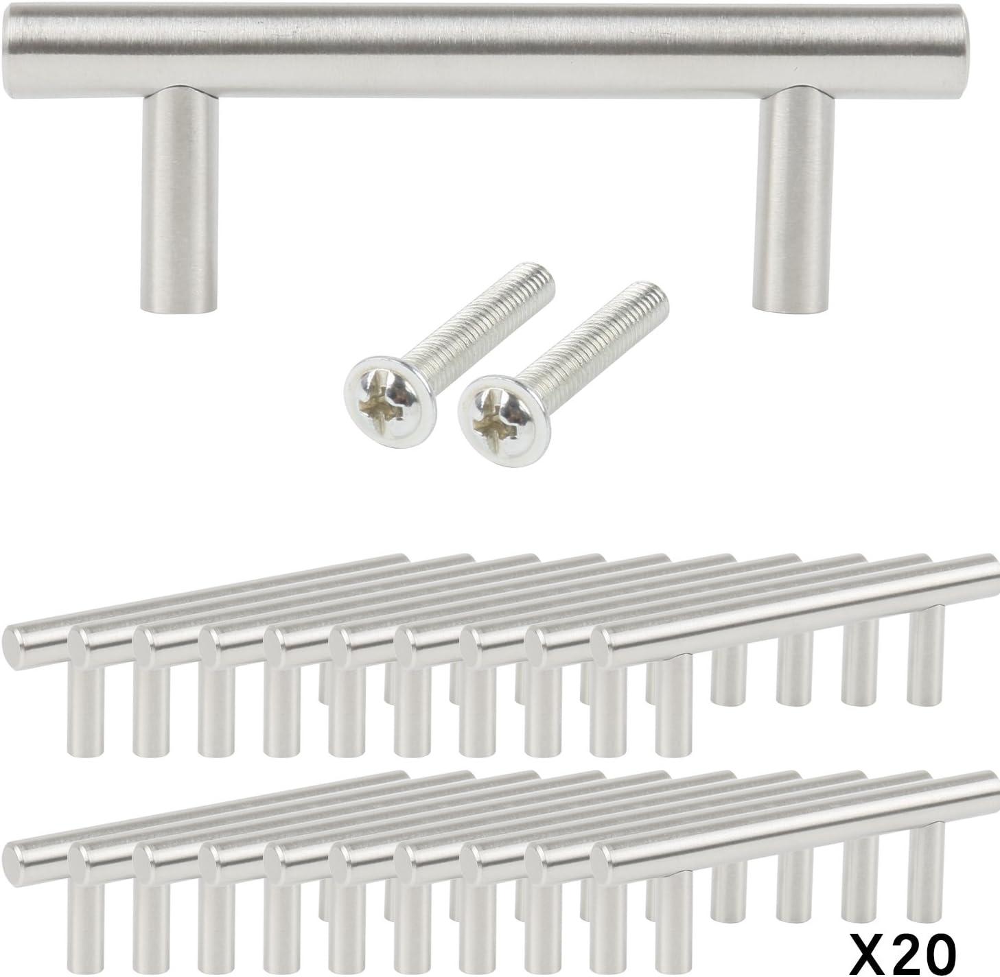 TRIXES Paquete de 20 Manijas en Forma de T en Acero Inoxidable para Cajones Puertas de Gabinete 100 mm de ancho; Centros 64mm: Amazon.es: Bricolaje y herramientas