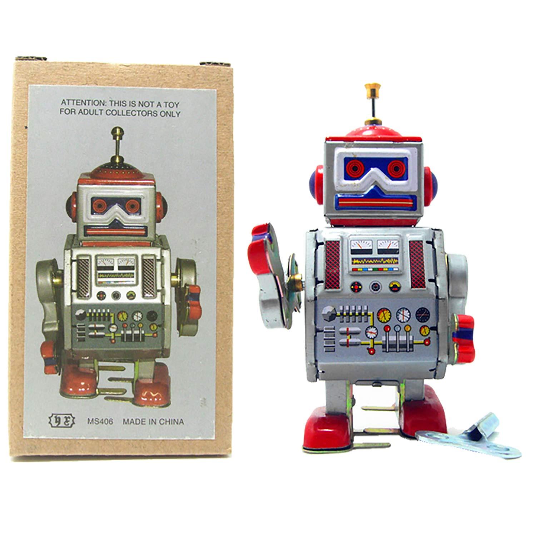 PYXEL STUDIO Tin Toy Robot - Radar DAVE Robot - Vento fino giocattolo di latta da collezione HWAMART STUDIO KIT