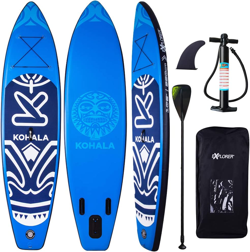 Includes Adjustable Aluminum Paddle Travel Backpack Bravo Double Function Hand Pump  DV SPORT Inflatable 10` Stand Up Paddle Board 5 Inches Thick Double Layers Complete Package ISUP