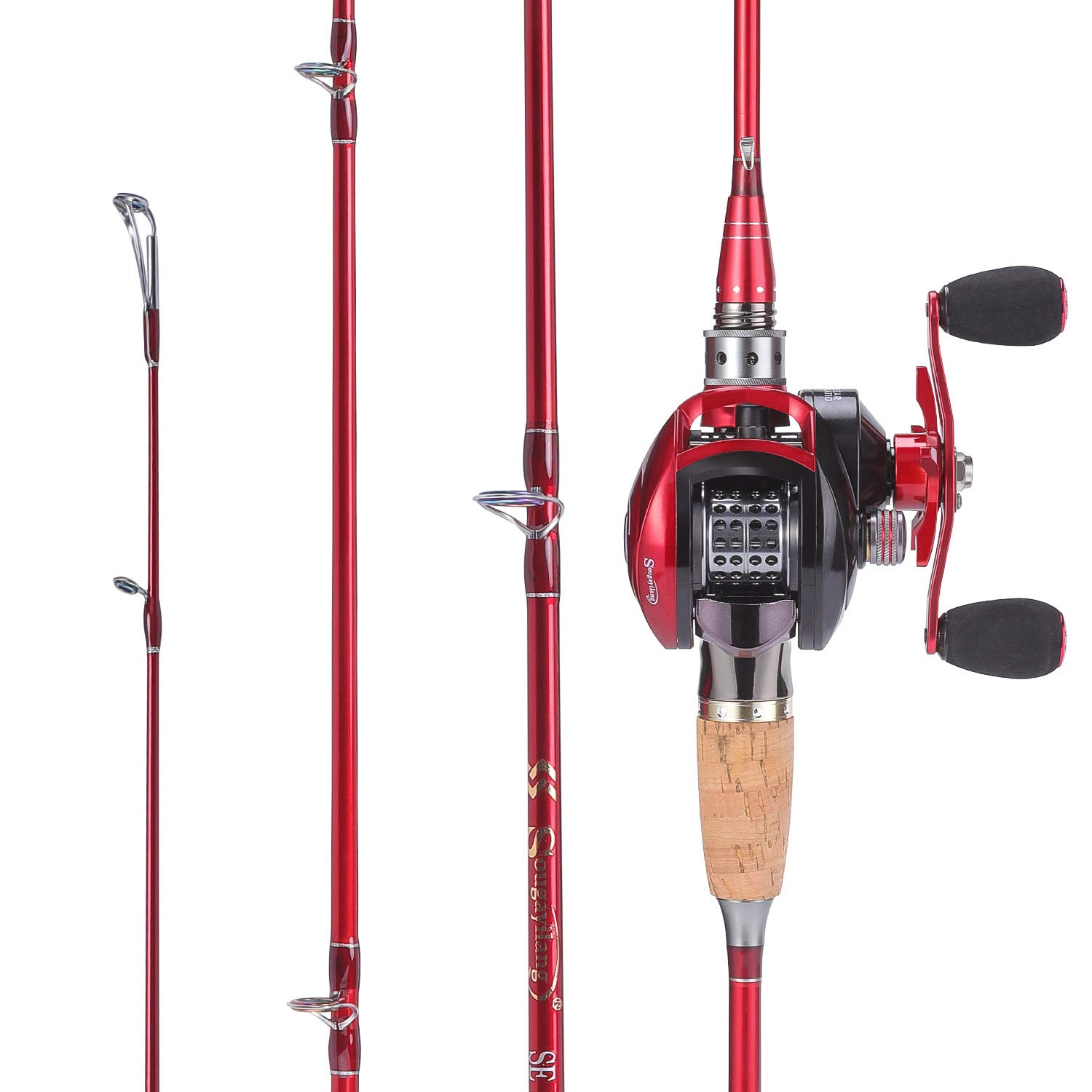 Lightweight Carbon Fiber Fishing Pole and 11+1BB Corrosion Resistant Bearings Fishing Reel-Right Left Hand for Travel 4-Piece Salt Fresh Water Sougayilang Fishing Baitcasting Combos /… /…