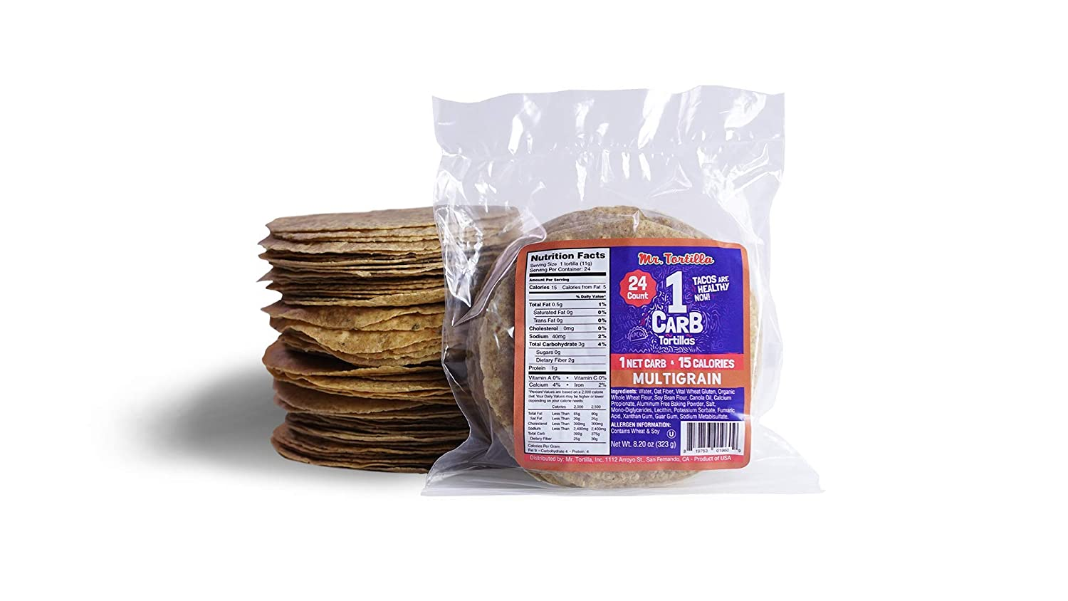 Mr. Tortilla 1 Net Carb Tortillas (96 Tortillas) | Keto, Vegan, Kosher | (Multigrain)